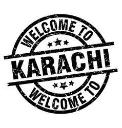 Welcome to karachi black stamp vector
