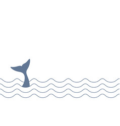 Whale line vector
