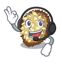 With headphone fruit marang is located in mascot vector