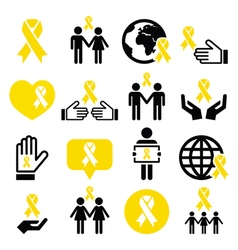 Yellow ribbon icons - suicide prevention support vector