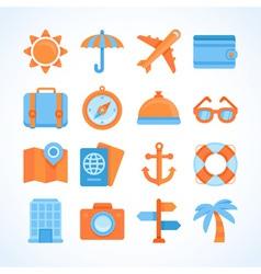 Flat icon set of travel symbols vector image