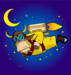 flying bull vector image