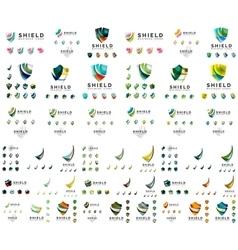 Mega set of protection shield logo concepts Color vector image