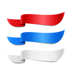 Red blue and white ribbon banners vector