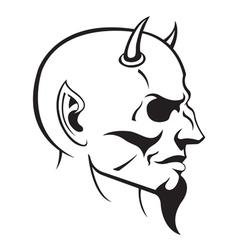 devils head profile vector image vector image