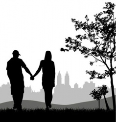 couple outdoors vector image vector image