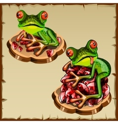 Funny frog picture on a pile of precious stones vector image