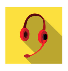 headphones icon in flat style isolated on white vector image