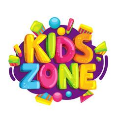 kids zone cartoon logo vector image