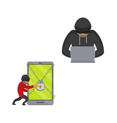 flat hacker stealing money set vector image