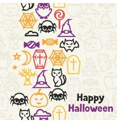 Happy halloween greeting card with flat icons vector image vector image