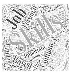 JH skills emphasis job interview Word Cloud vector image vector image