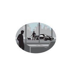 office worker looking through window oval woodcut vector image vector image