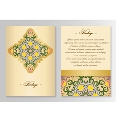 Vintage card template with floral ornaments vector image