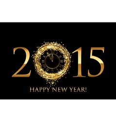 2015 Happy New Year background with gold shiny vector