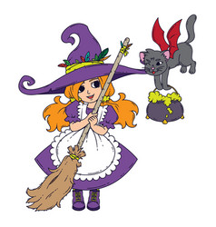 a little witch with a broom a cat and a pot vector image