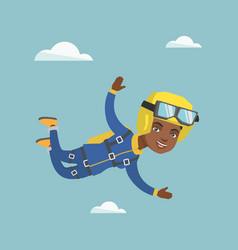 African parachutist jumping with a parachute vector