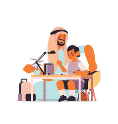 Arab father helping son doing homework parenting vector