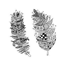 Art feather entangle style for your design vector