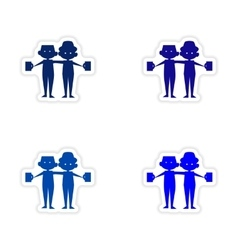 Assembly realistic sticker design on paper friends vector