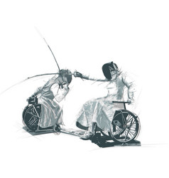 Athletes with physical disabilities - fencing vector