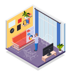 Augmented reality furniture isometric concept vector