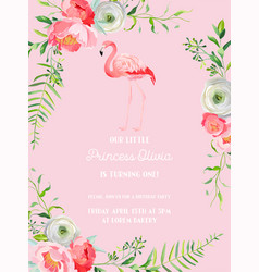 babirthday invitation card with flamingo vector image