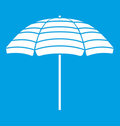 beach umbrella icon white vector image