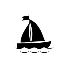 Black yacht boat icon isolated on white background vector
