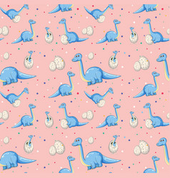 blue dinosaur on seamless pattern vector image
