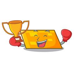 boxing winner parallelogram mascot cartoon style vector image