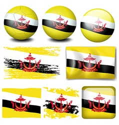 Brunei flag on different items vector image