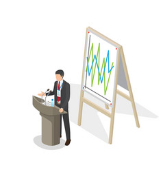 Businessman presentation at podium with schedule vector