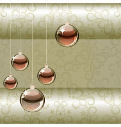Christmas background with transparent balls vector image
