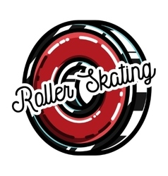 Color vintage roller skates emblem vector