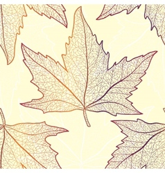 Colored art autumn maple leaves seamless pattern vector image