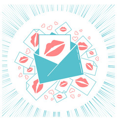 concept of love envelope with kisses vector image