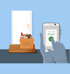 Contactless food delivery concept vector