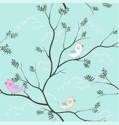 cute birds cartoon seamless pattern on soft blue vector image
