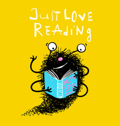 cute reading book monster mascot for kids vector image