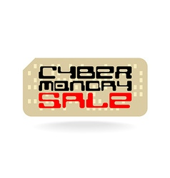 Cyber monday sale badge with techno font and retro vector image