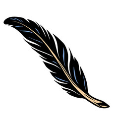 Dark feather colorful tattoo template vector