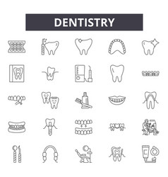 dentistry line icons signs set outline vector image