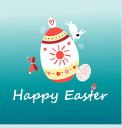 easter card with a rabbit and eggs vector image