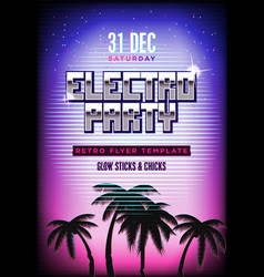 Electro party poster retro 80s neon background vector