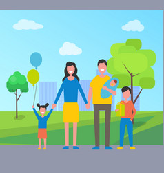 family daughter son in park vector image