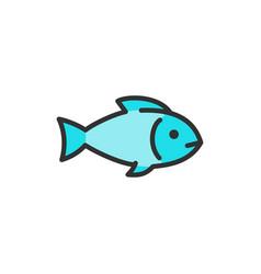 fish aquatic animal flat color line icon vector image