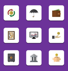flat icon gain set of parasol strongbox billfold vector image
