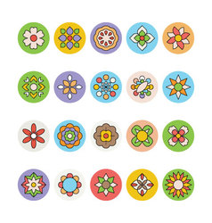 Flowers and Floral Colored Icons 4 vector