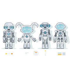 Futuristic android robot characters artificial vector